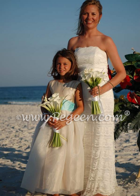Summer Tan and Pond (tiffany blue) silk flower girl dress