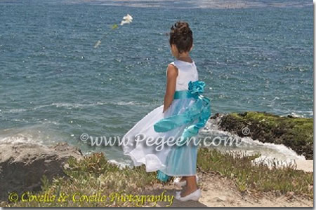White silk and tiffany blue silk flower girl dress