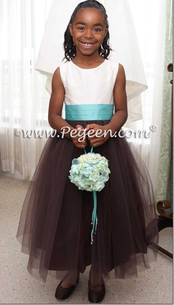 TIFFANY BLUE TULLE with chocolate tulle FLOWER GIRL DRESSES