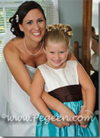 tiffany blue and semi-sweet chocolate brown flower girl dresses