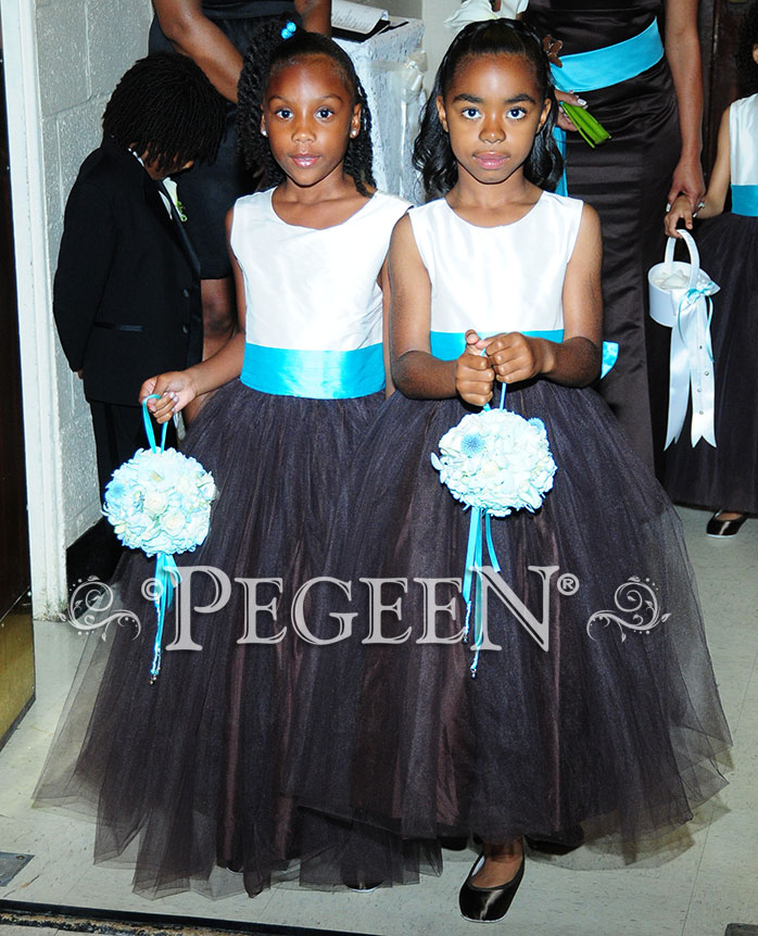 Flower girl dresses in Chocolate with Semi-Sweet Skirt and Tulle, Tiffany Blue Sash and Antique White Silk Bodice - Style 356