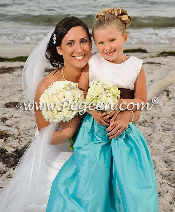 chocolate and tiffany flower girl dresses
