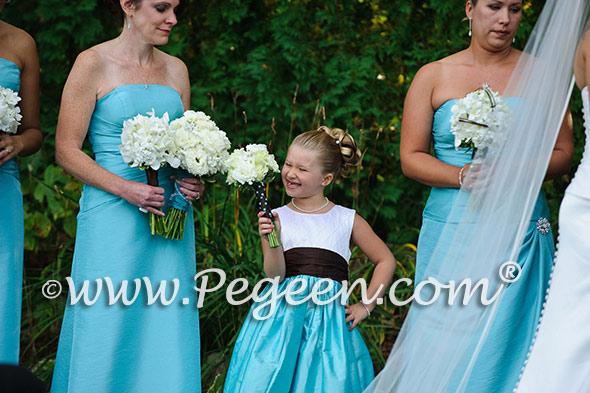 Pond tiffany blue flower girl dresses Style 357