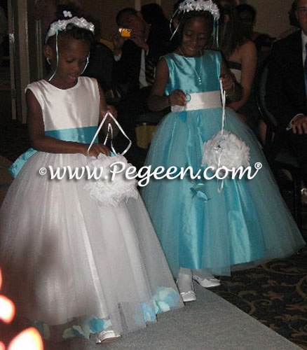 Tiffany Blue Silk and Tulle Flower Girl Dress Pegeen Style 356