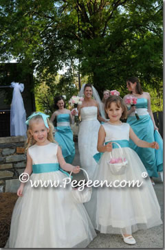 Tiffany blue and ivory flower girl dresses with Tulle