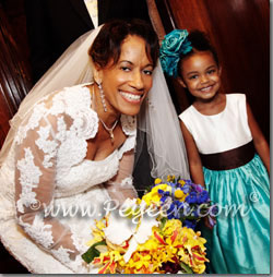 tiffany and chocolate brown flower girl dresses