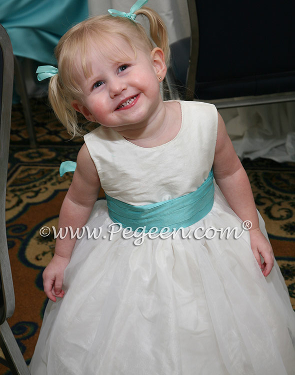 white and tiffany flower girl dresses