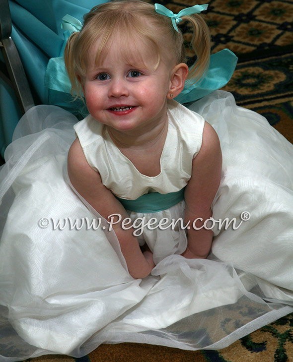 Pegeen Style 394 FLOWER GIRL DRESSES in amtique white and tiffany blue