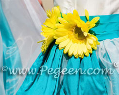 Yellow and Turquoise and white silk flower girl dresses