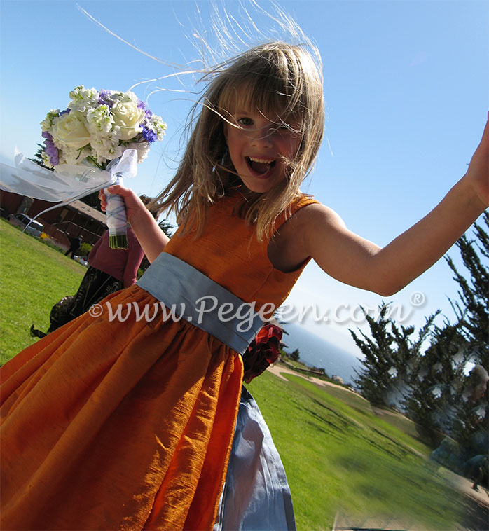 Tangerine and french blue flower girl dresses