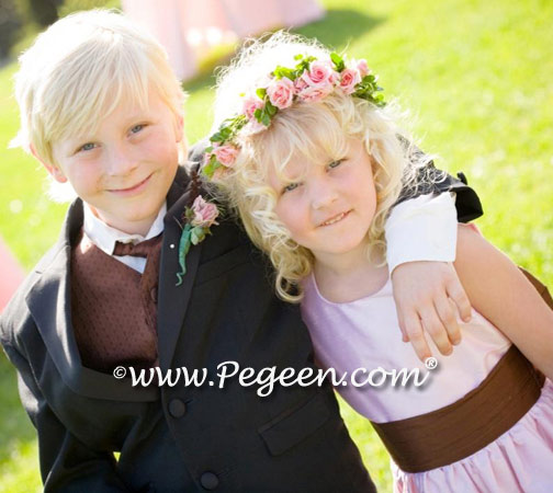 Brown and Pink flower girl dresses Style 398