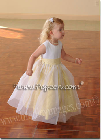 Yellow sunflower and white flower girl dresses