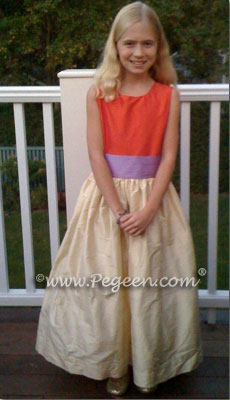 yellow, orange, pink, purple jr bridesmaids flower girl dress