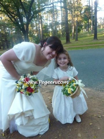 Mustard and Ivory silk flower girl dresse