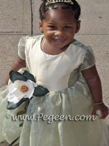 Yellow and green frog princess flower girl dresses