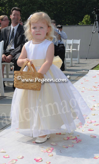 Tulle and yellow silk flower girl dresses