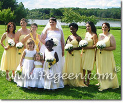 Yellow sunflower and ivory silk flower girl dresses by Pegeen