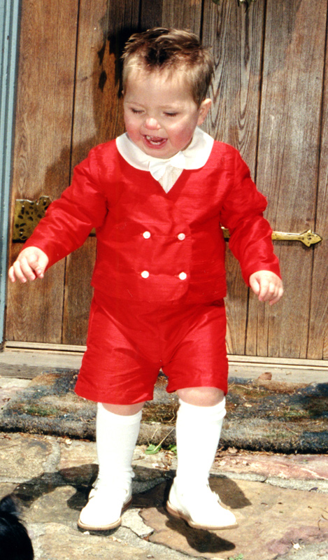Red silk ring bearer suit