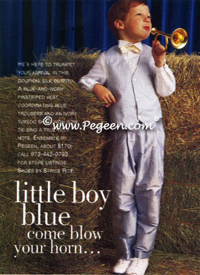 Blue Silk Striped Ring Bearers Suit