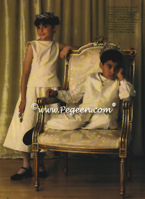 Boy's ring bearer suit with silk vest, shirt & pants (#235) in Bride's Magazine