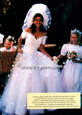 White taffeta flower girl dress shown in Martha Stewart Weddings