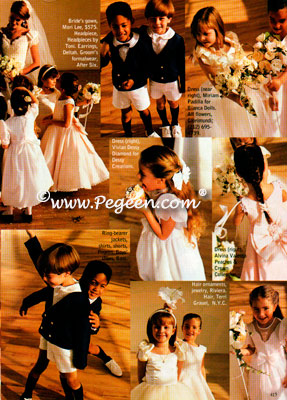 Eton Suits and Flower Girl dresses all by Pegeen shown in Modern Bride Magazine