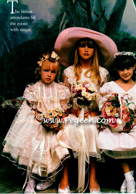 Pink Seersucker Silk Flower Girl Dress in Victoria Magazine