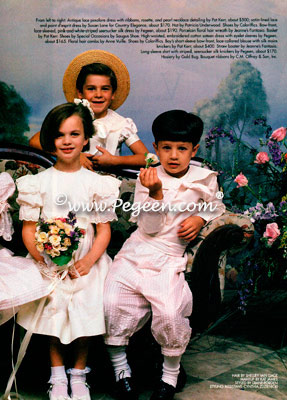 Ivory silk flower girl dress and pink ring bearer suit in Victoria Magazine