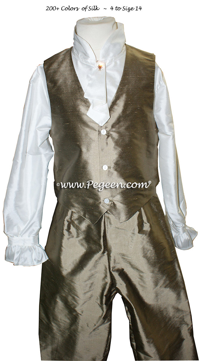 Ring Bearer Suit in Antique Gold with shirt, pants and jabot Style 592 Boys | Pegeen