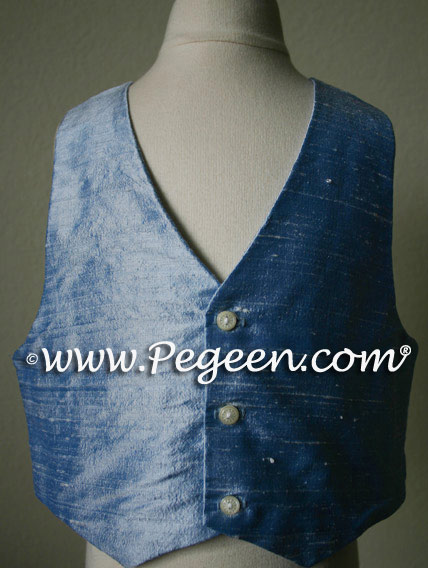 Denim Blue Boy's Silk Vest