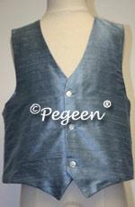 French blue  Boy's Silk Vest
