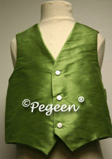 Vine Green  Boy's Silk Vest