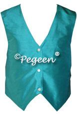 Boy's turquoise silk vest