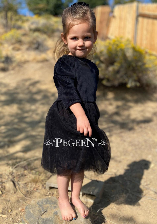 Velvet 3/4 sleeve flower girl dress