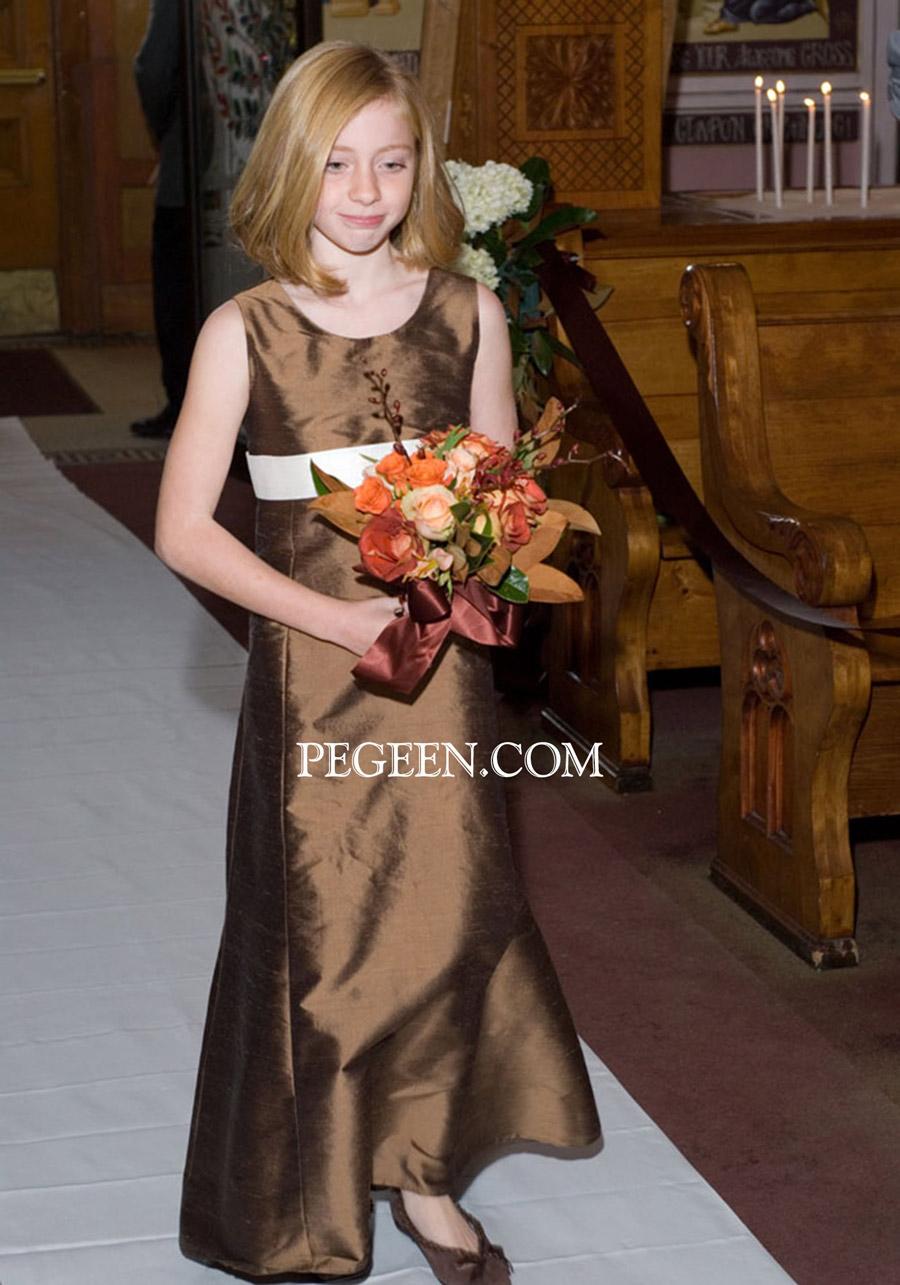 Chocolate Brown silk flower girl dress