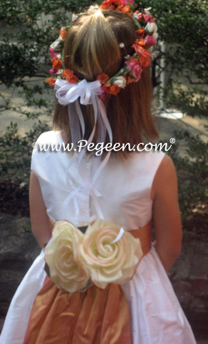 Grapefruit and Antique White Silk Flower Girl Dresses with hand made, hand rolled 100% silk flowers. Pegeen Classic Style 383