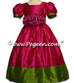 Contrast silk dress shown shown in Raspberry and Grass Green Couture Style 401