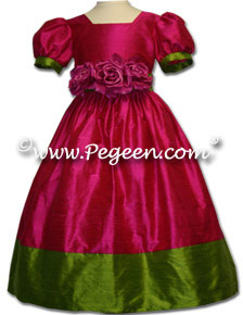 Couture Silk contrast with sleeves flower girl dress shown in raspberry pink and grass green