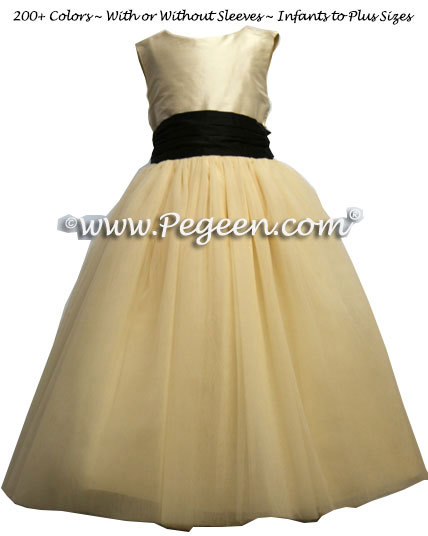SUMMERTAN AND MIDNIGHT TULLE JUNIOR BRIDESMAID DRESS