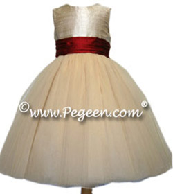 Degas tulle ballerina dress shown in claret red and champagne Couture Style 402