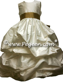 Couture puddle silk flower girl dress shown in ivory and gold