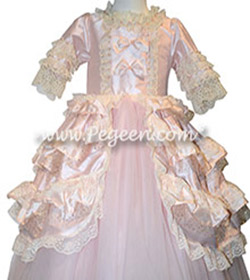 Silk  tulle, gitter tulle Marie Antoinette style flower girl dress