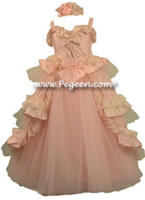 "Silk, tulle, gitter tulle, french laces, and plenty of ruffles make this ""Marie Antoinette"" style flower girl dress truly spectacular - complete with neck ruffle"