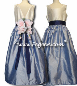 Junior Bridesmaids Couture Dress with A-Line Skirt and flowers Style 419