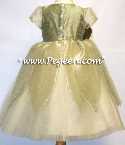 Baby Chick Princess Frog ballerina style flower girl dress with layers of tulle