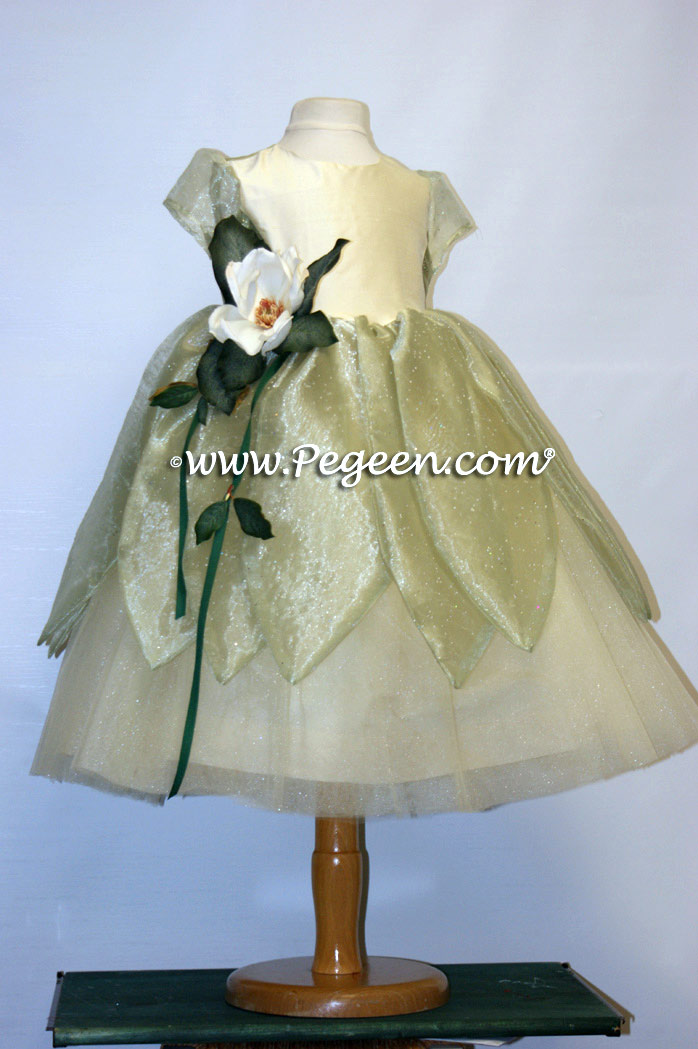 Silk flower girl dress styled after The Princess and the Frog
