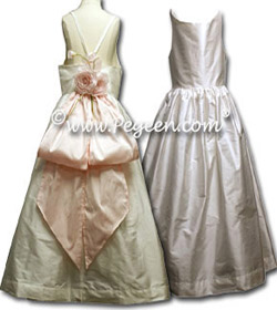 Cotillion or Couture Jr. Bridesmaids Dress with Dramatic Back, Spaghetti Straps and Flowers