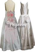 Junior Bridesmaids Silk Dress with Spagetti Straps #424