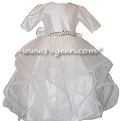 Cotillion or Couture Jr. Bridesmaids Dress with Flowing Tulle, 3/4 Sleeves