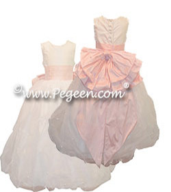 Couture Junior Bridesmaid Balroom Dress with Pearls and Tufting